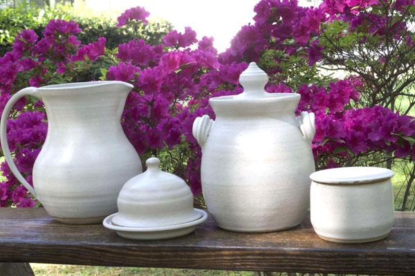 white stoneware in garden north carolina